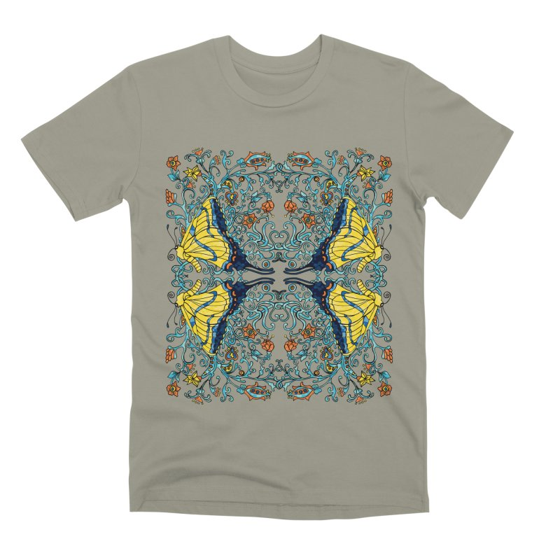Art nouveau Flowers and Butterflies Men's Premium T-Shirt by jandeangelis's Artist Shop