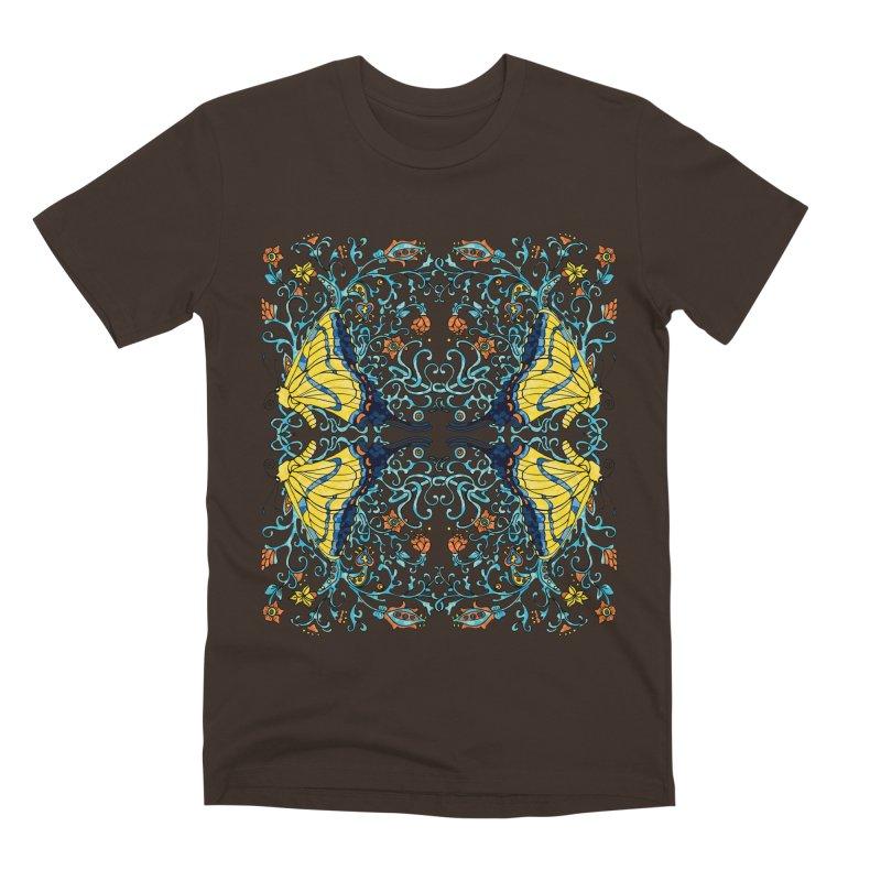 Art nouveau Flowers and Butterflies Men's Premium T-Shirt by jandeangelis's Artist Shop