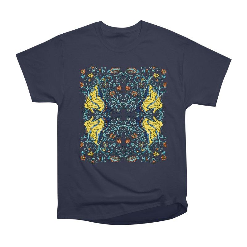 Art nouveau Flowers and Butterflies Men's Heavyweight T-Shirt by jandeangelis's Artist Shop