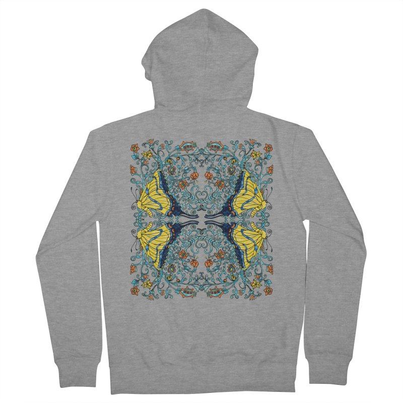 Art nouveau Flowers and Butterflies Women's French Terry Zip-Up Hoody by jandeangelis's Artist Shop