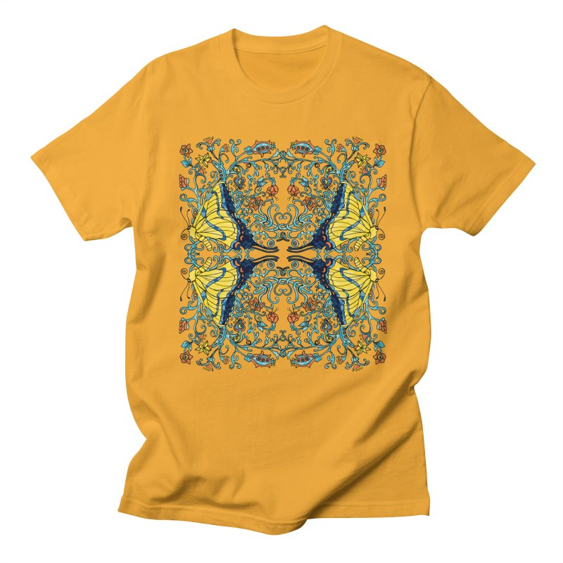 Art nouveau Flowers and Butterflies Men's Regular T-Shirt by jandeangelis's Artist Shop