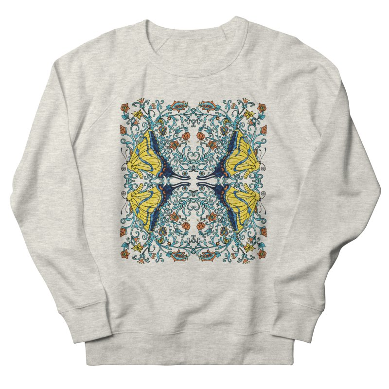 Art nouveau Flowers and Butterflies Women's French Terry Sweatshirt by jandeangelis's Artist Shop