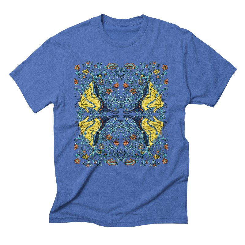 Art nouveau Flowers and Butterflies Men's Triblend T-Shirt by jandeangelis's Artist Shop