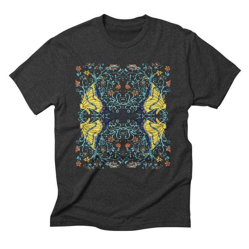 Art nouveau Flowers and Butterflies Men's Triblend T-Shirt by jandeangelis's Artist Shop