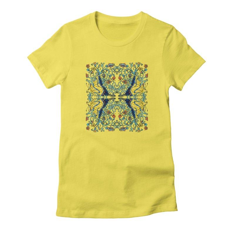 Art nouveau Flowers and Butterflies Women's T-Shirt by jandeangelis's Artist Shop