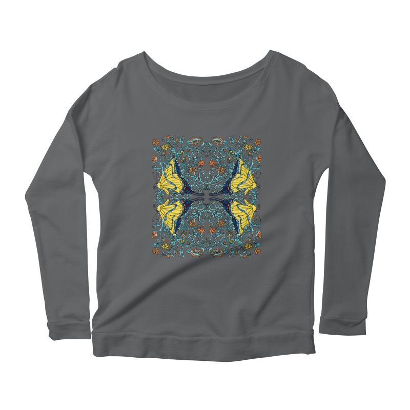 Art nouveau Flowers and Butterflies Women's Scoop Neck Longsleeve T-Shirt by jandeangelis's Artist Shop