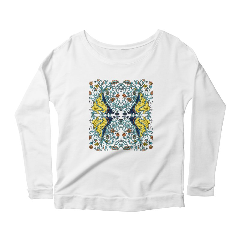 Art nouveau Flowers and Butterflies Women's Scoop Neck Longsleeve T-Shirt by jandeangelis's Artist Shop