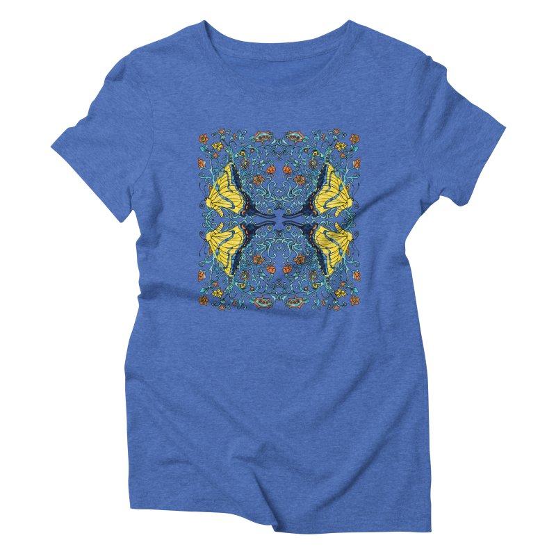 Art nouveau Flowers and Butterflies Women's Triblend T-Shirt by jandeangelis's Artist Shop