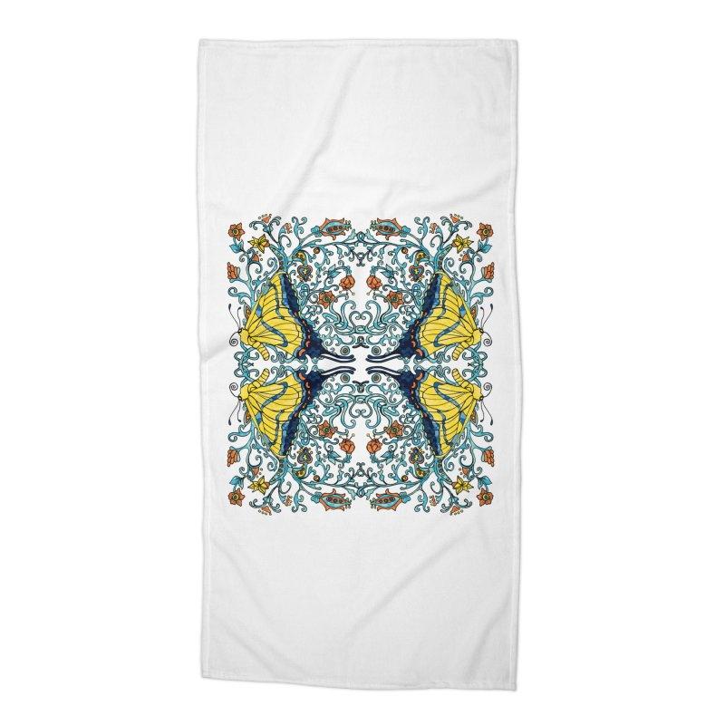 Art nouveau Flowers and Butterflies Accessories Beach Towel by jandeangelis's Artist Shop