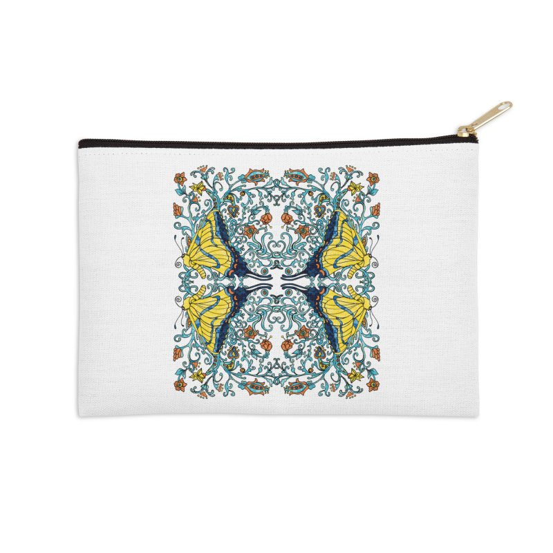 Art nouveau Flowers and Butterflies Accessories Zip Pouch by jandeangelis's Artist Shop