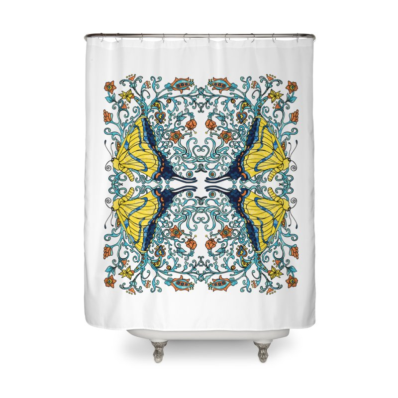 Art nouveau Flowers and Butterflies Home Shower Curtain by jandeangelis's Artist Shop
