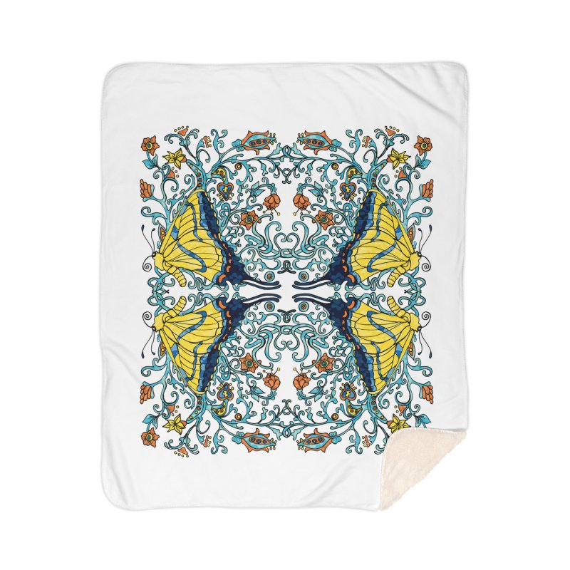 Art nouveau Flowers and Butterflies Home Sherpa Blanket Blanket by jandeangelis's Artist Shop
