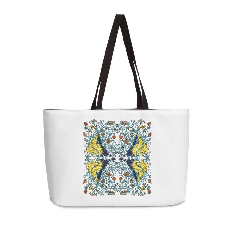 Art nouveau Flowers and Butterflies Accessories Weekender Bag Bag by jandeangelis's Artist Shop