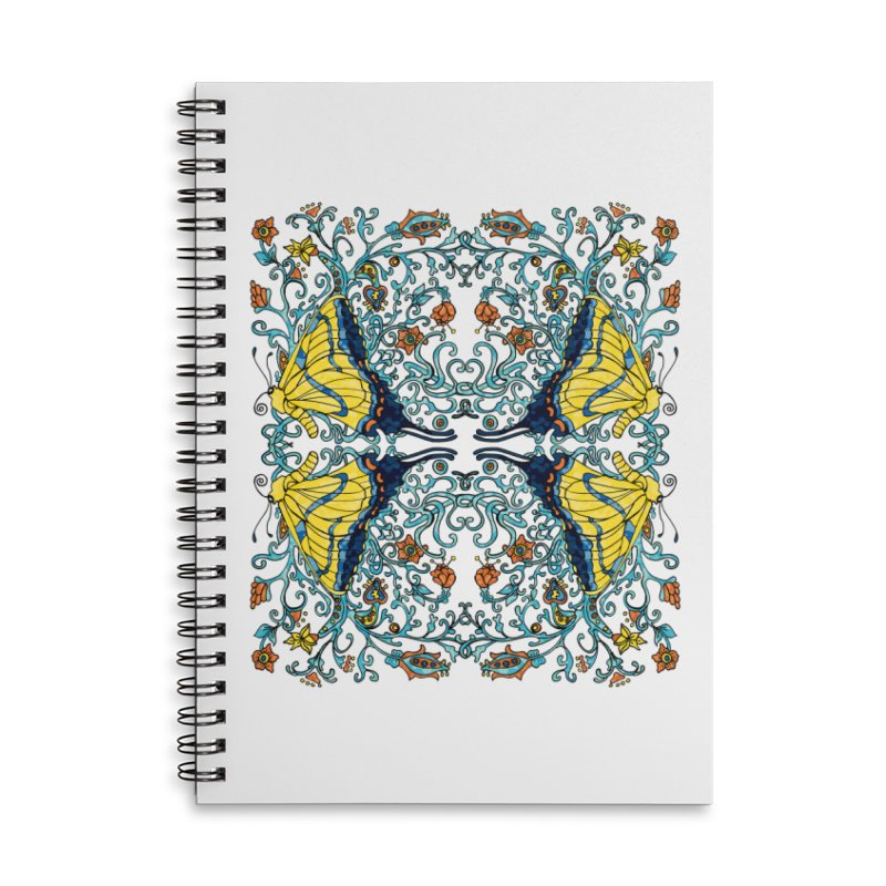 Art nouveau Flowers and Butterflies Accessories Lined Spiral Notebook by jandeangelis's Artist Shop