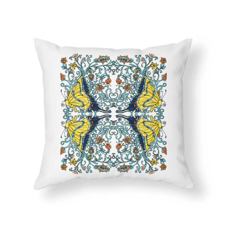 Art nouveau Flowers and Butterflies Home Throw Pillow by jandeangelis's Artist Shop