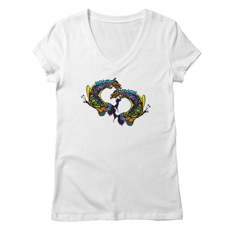Butterflysplash Women's Regular V-Neck by jandeangelis's Artist Shop