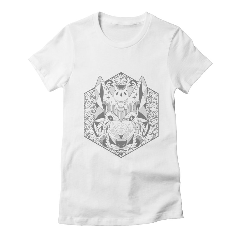 Primal Wolf Women's Fitted T-Shirt by japdua's Artist Shop