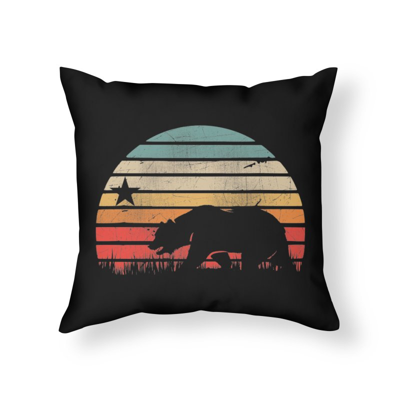 Retro Vintage California Sunset Home Throw Pillow by The Tee Supply Co