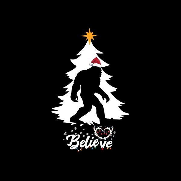 image for Believe Bigfoot Sasquatch Wearing Christmas Hat 2020