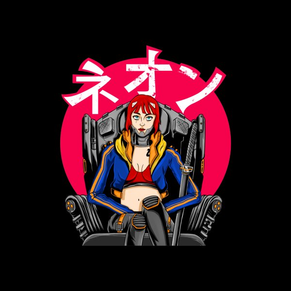 image for Cyberpunk Girl with the word Neon in Japanese Kanji or Katakana