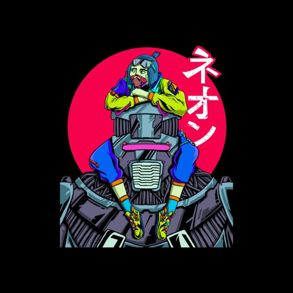 image for Cyberpunk Mechanic Girl Sitting on her Robot with the word Neon in Japanese