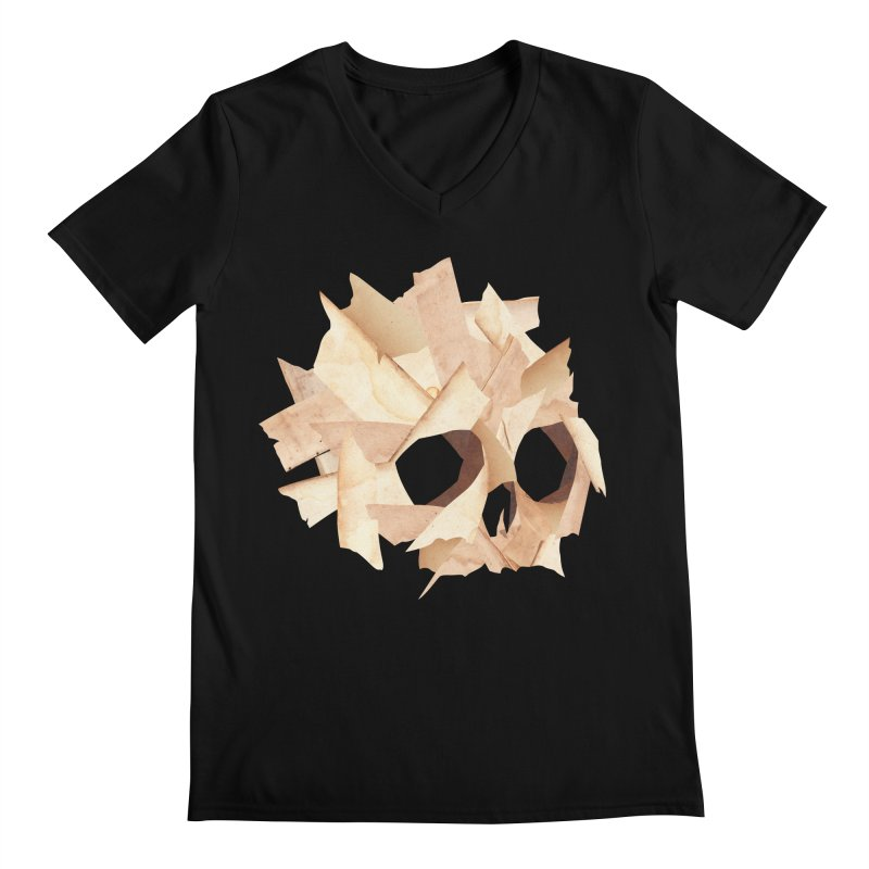 Paper Skull Men's V-Neck by japdua's Artist Shop
