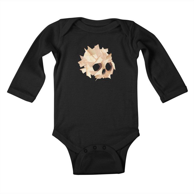 Paper Skull Kids Baby Longsleeve Bodysuit by japdua's Artist Shop