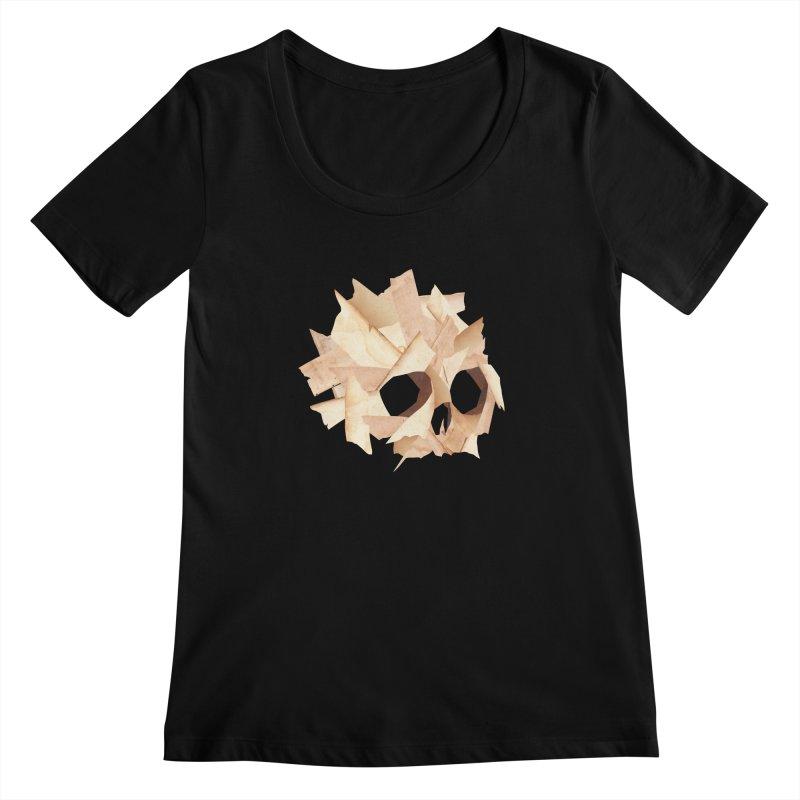 Paper Skull Women's Scoopneck by japdua's Artist Shop