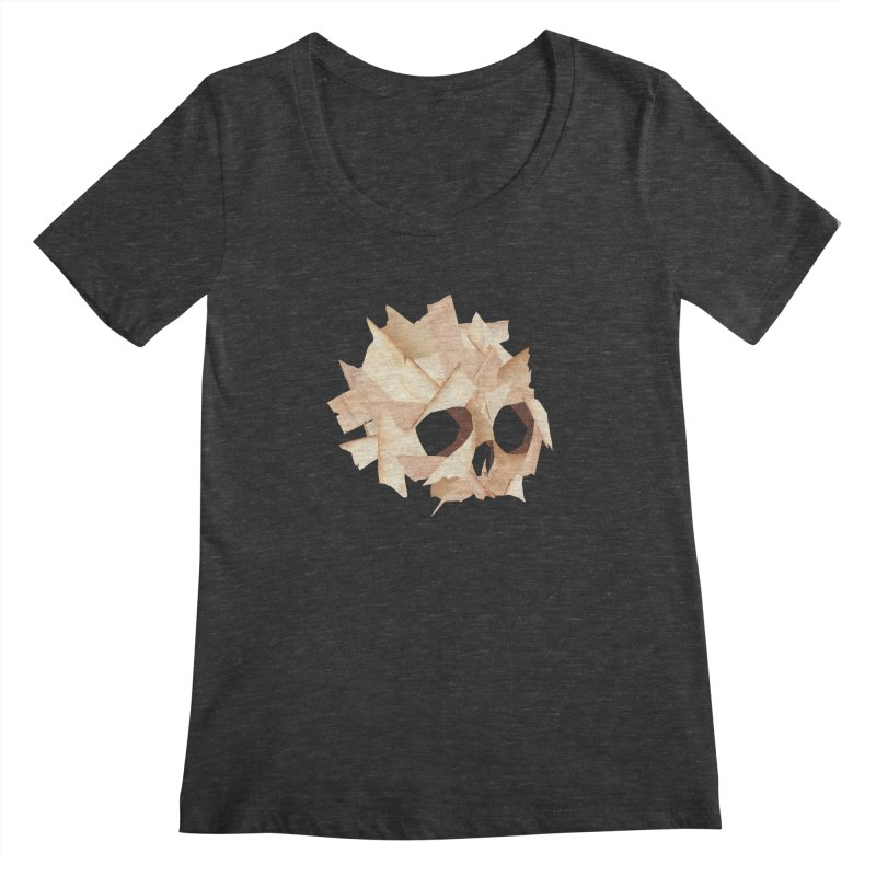 Paper Skull Women's Scoopneck by japdua's Artist Shop