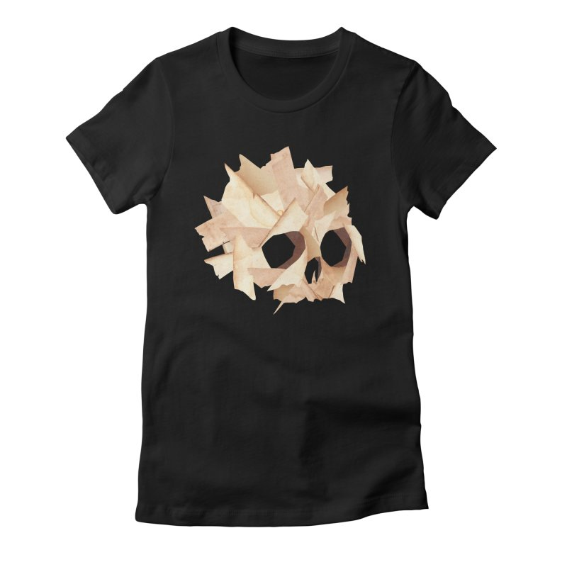 Paper Skull Women's Fitted T-Shirt by japdua's Artist Shop