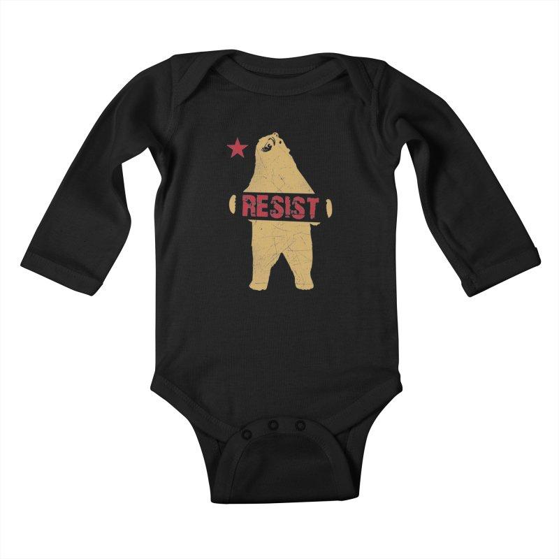 Cali Resist Bear Kids Baby Longsleeve Bodysuit by japdua's Artist Shop