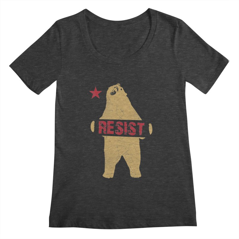 Cali Resist Bear Women's Scoopneck by japdua's Artist Shop