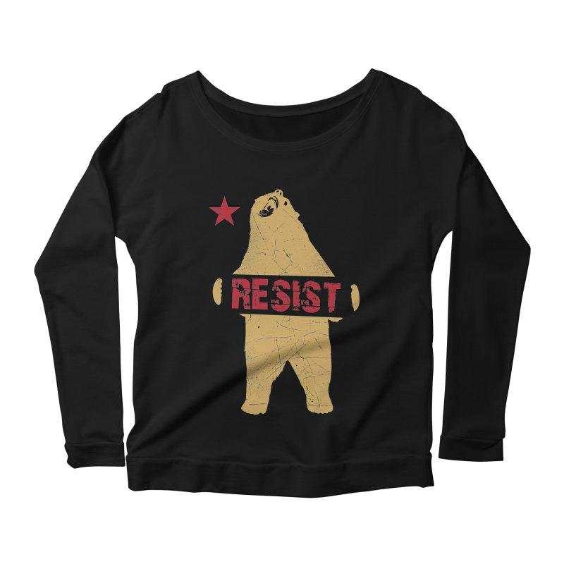 Cali Resist Bear Women's Longsleeve Scoopneck  by japdua's Artist Shop