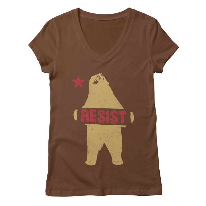 Cali Resist Bear Women's V-Neck by japdua's Artist Shop
