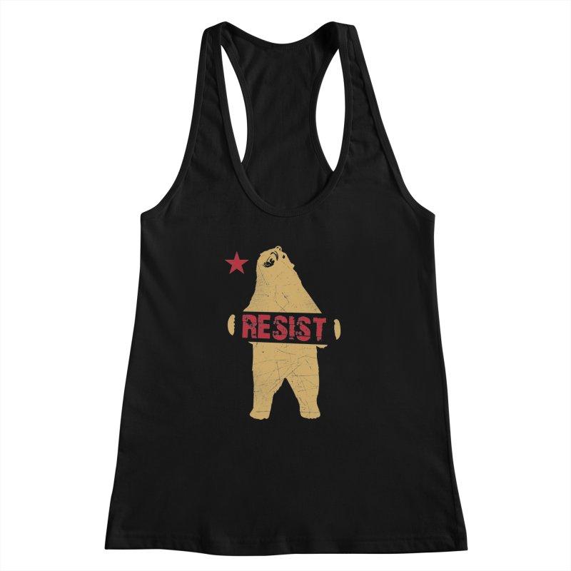 Cali Resist Bear Women's Racerback Tank by japdua's Artist Shop