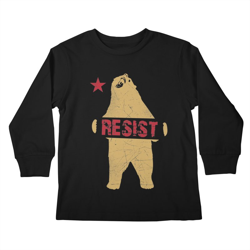 Cali Resist Bear Kids Longsleeve T-Shirt by japdua's Artist Shop
