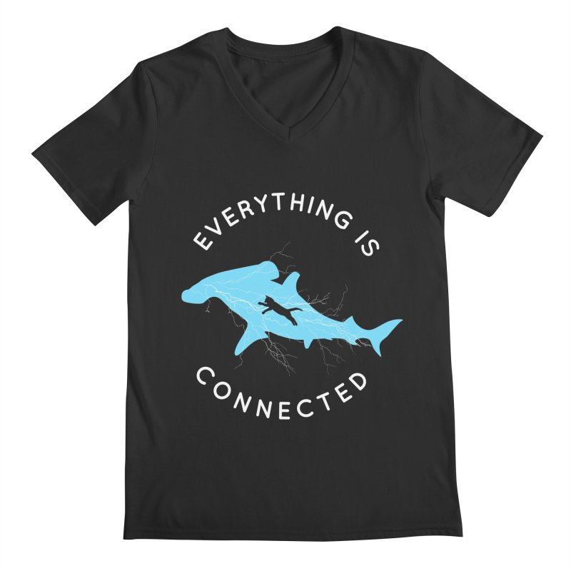 Everything is Connected Cat Shark Men's V-Neck by japdua's Artist Shop