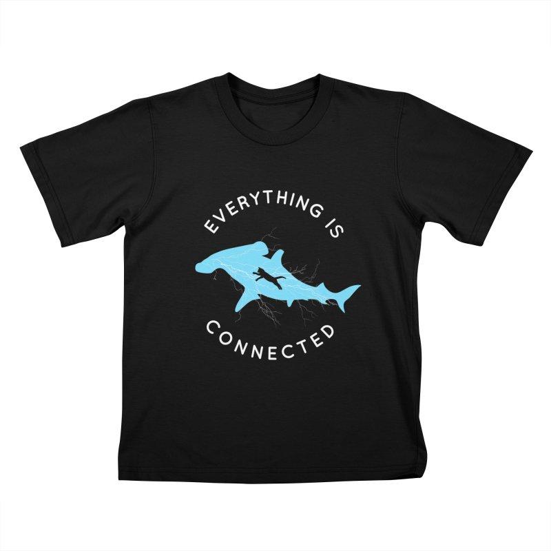 Everything is Connected Cat Shark Kids T-Shirt by japdua's Artist Shop