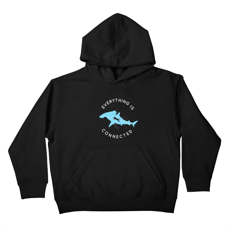 Everything is Connected Cat Shark Kids Pullover Hoody by japdua's Artist Shop
