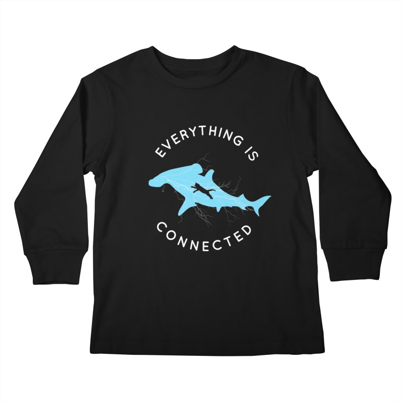 Everything is Connected Cat Shark Kids Longsleeve T-Shirt by japdua's Artist Shop