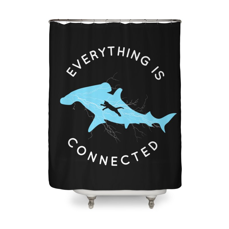 Everything is Connected Cat Shark Home Shower Curtain by japdua's Artist Shop