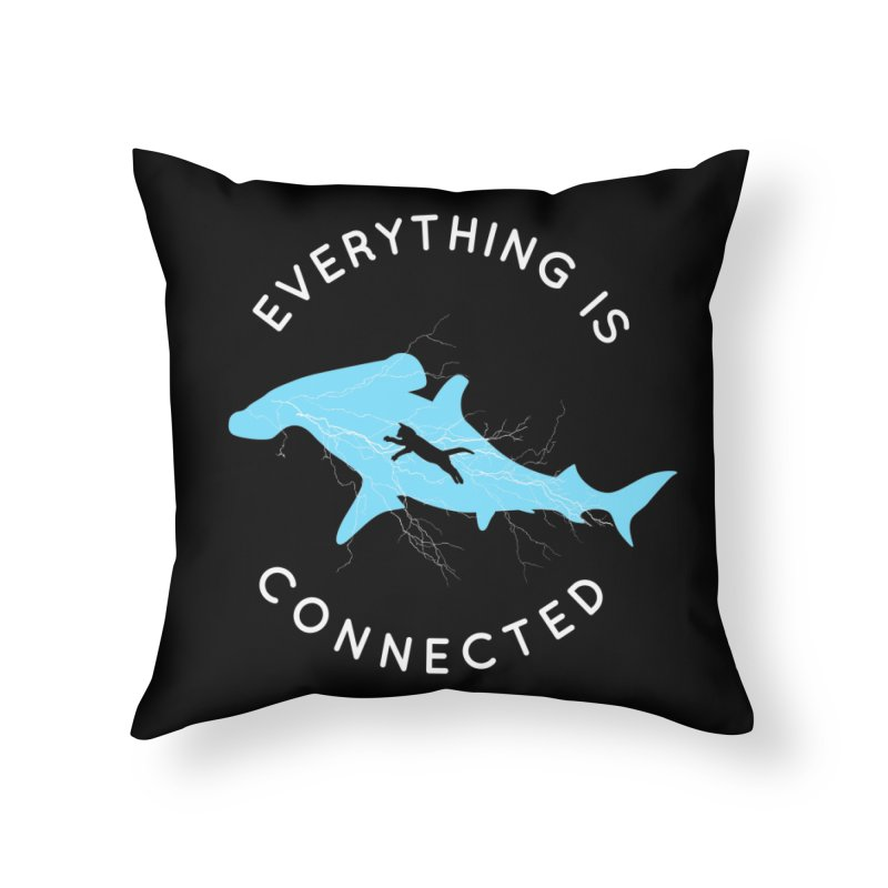 Everything is Connected Cat Shark Home Throw Pillow by japdua's Artist Shop
