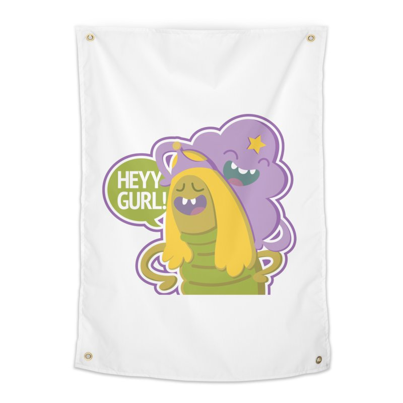 Heyy Gurl! Lumpy Space Princess (LSP) and Turtle Princess  Home Tapestry by jaredslyterdesign's Artist Shop