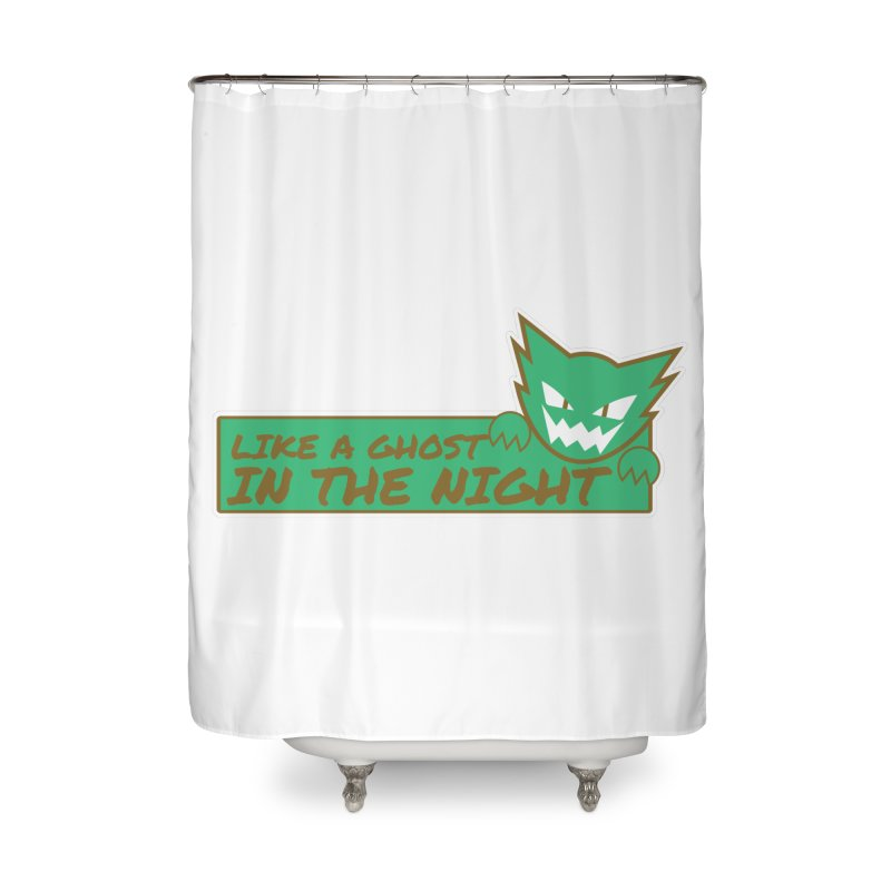 Haunter - Like a Ghost in the Night Green and Gold Home Shower Curtain by jaredslyterdesign's Artist Shop