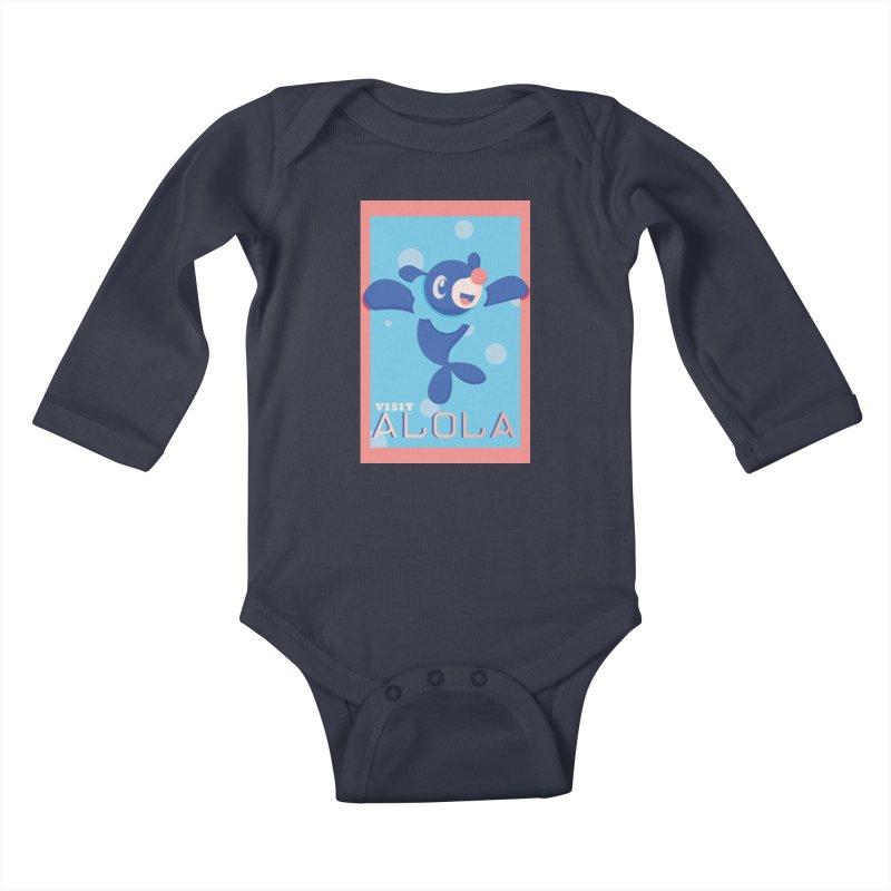 Visit Alola with Popplio ! Kids Baby Longsleeve Bodysuit by jaredslyterdesign's Artist Shop