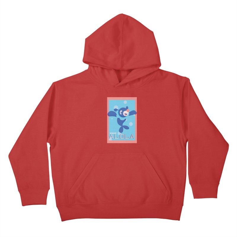 Visit Alola with Popplio ! Kids Pullover Hoody by jaredslyterdesign's Artist Shop