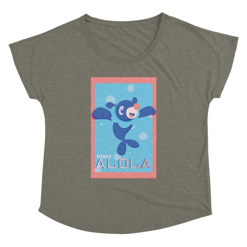 Visit Alola with Popplio ! Women's Dolman Scoop Neck by jaredslyterdesign's Artist Shop