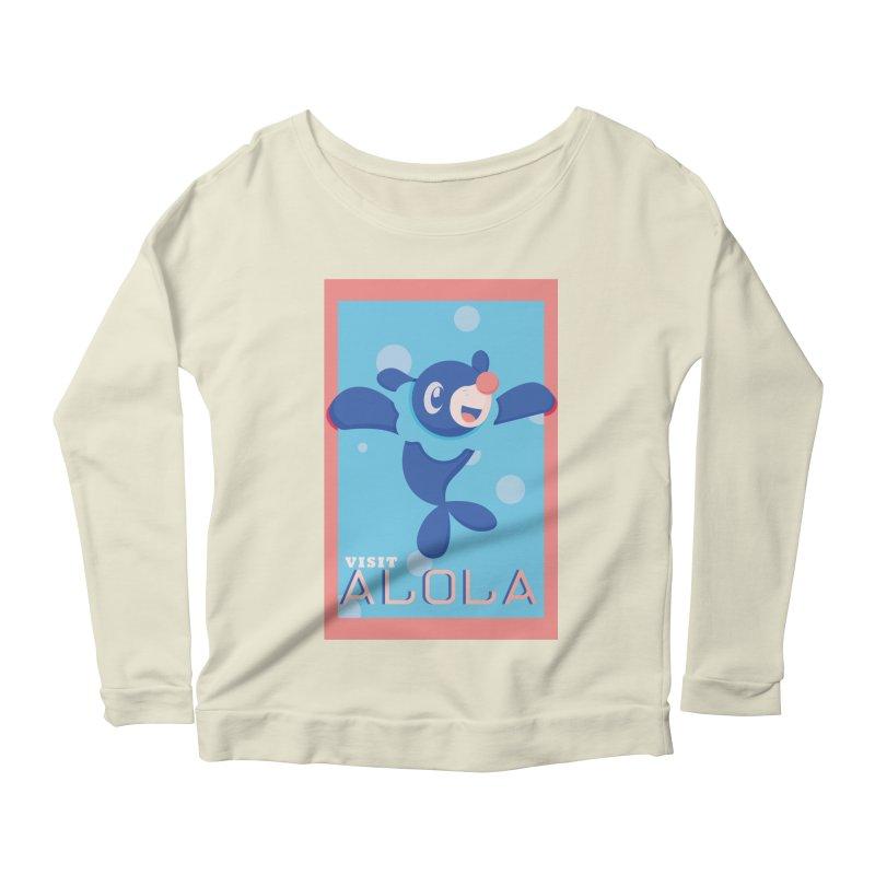 Visit Alola with Popplio ! Women's Scoop Neck Longsleeve T-Shirt by jaredslyterdesign's Artist Shop