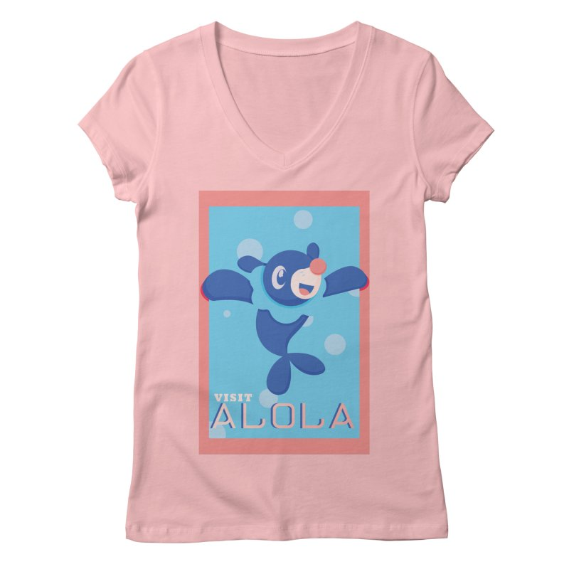 Visit Alola with Popplio ! Women's Regular V-Neck by jaredslyterdesign's Artist Shop