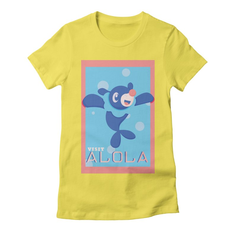Visit Alola with Popplio ! Women's Fitted T-Shirt by jaredslyterdesign's Artist Shop